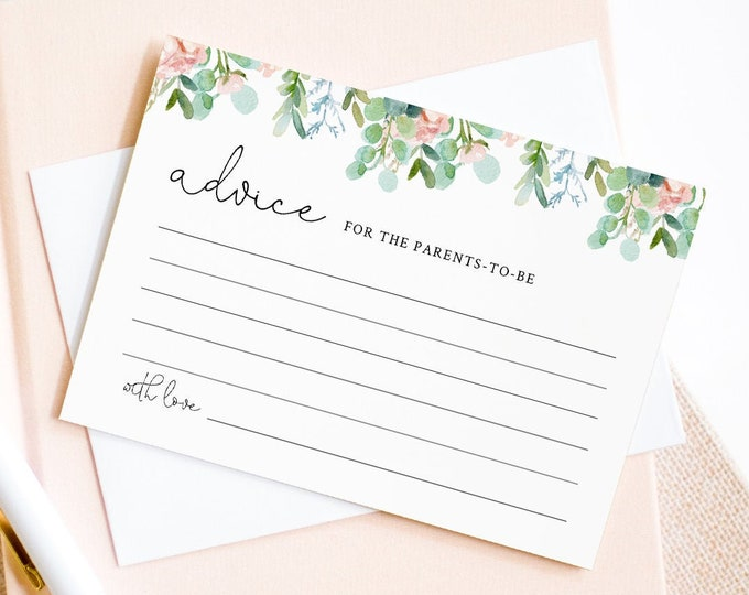Baby Advice Card Template, Wedding, Bridal Shower, Baby Shower, Lush Garden Greenery, Editable Text, Instant Download, Templett #068A-101AC