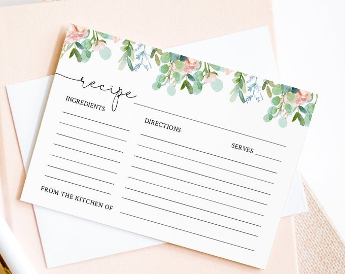 Garden Recipe Card Template, Instant Download, 100% Editable Text, Printable Greenery Bridal Shower Recipe Insert, Templett #068A-122RC