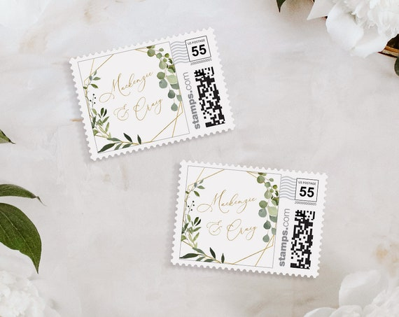 Custom Postage Stamp Template, Greenery and Gold Wedding, Photostamps.com, DIY, Instant Download, 100% Editable Text, Templett #056-105PS
