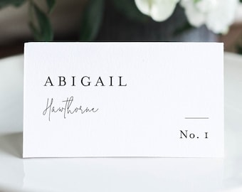 Modern Elegant Place Card Template, Printable Minimalist Wedding Escort Card with Meal Option, INSTANT DOWNLOAD, Templett #095A-186PC