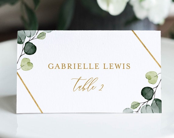 Greenery Wedding Place Card Template, Printable Watercolor Escort Card, Editable Seating Card, Templett, Instant Download, DIY #007-152PC