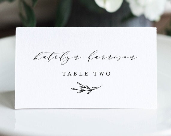 Minimalist Wedding Place Card Template, 100% Editable, Printable Escort Card, Modern Script Name Card, Templett, Flat and Tent #037-148PC