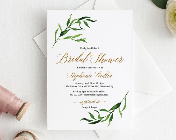 Greenery Bridal Shower Invitation, Watercolor Wedding Shower Invite, Editable Template, Instant Download, Printable, Templett #013-103BS