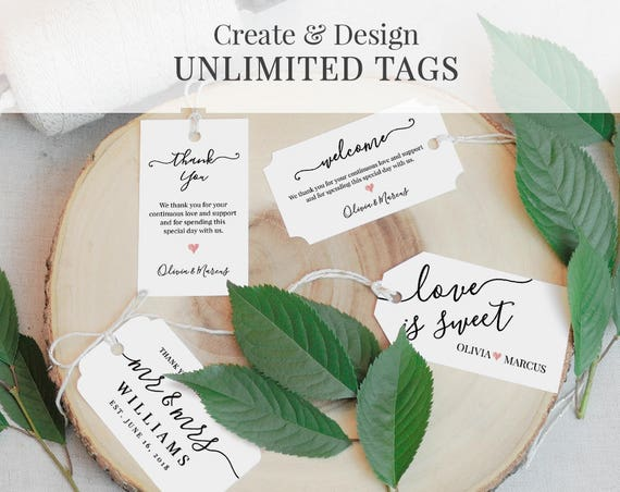 Wedding Tag Template, Favor Tag, Welcome Bag Tag, Thank You Tag, Printable, Fully Editable, Instant Download, Digital, DIY 3.5x2 #030-101TG