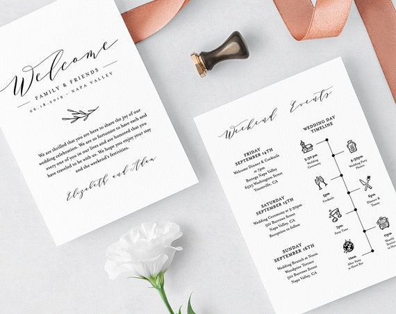 Wedding Itinerary, Welcome Letter Template, Printable Welcome Bag Note, Order of Events, Agenda, Icon Timeline, 100% Editable #037-110WB