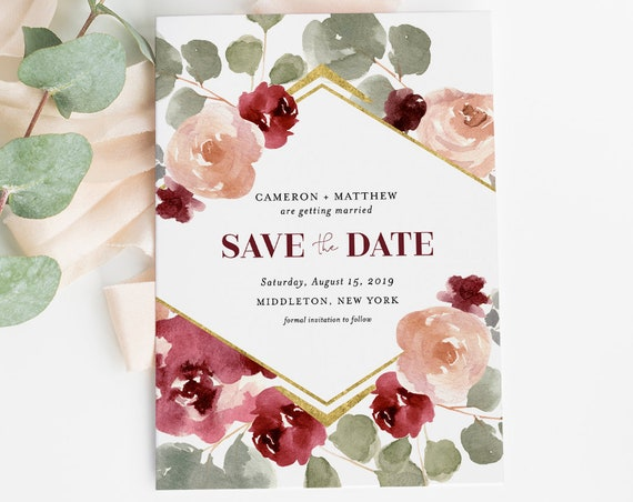 Boho Save the Date Template, INSTANT DOWNLOAD, 100% Editable Text, Printable Burgundy Floral Wedding Date Card, DIY, Templett #065-137SD