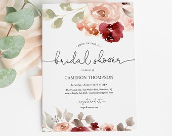 Editable Bridal Shower Invitation Template, Watercolor Boho Burgundy & Blush Florals, Greenery, INSTANT DOWNLOAD, Editable Text #065-176BS