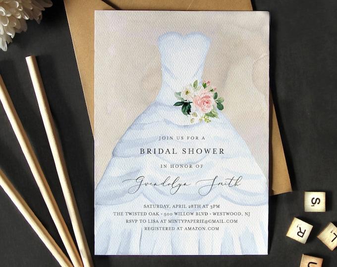 Bridal Shower Invitation, Instant Download, 100% Editable Template, Printable Wedding Dress Bridal Shower Invite, Feminine, Templett #141BS