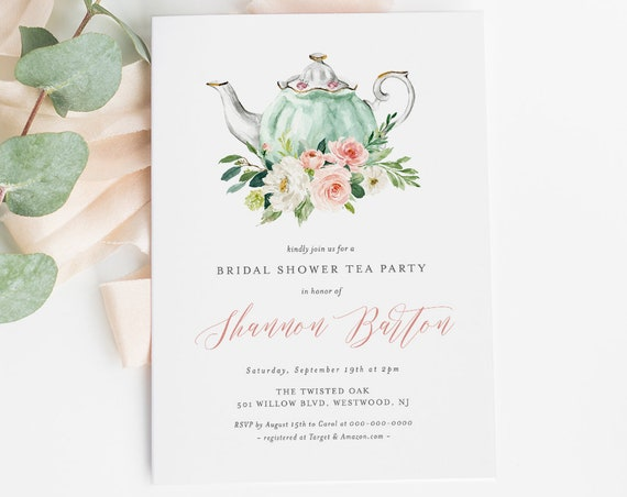 Bridal Shower Tea Party Invitation Template, Printable Bridal Tea Shower Invite, Bridal Brunch, 100% Editable Text, INSTANT DOWNLOAD #184BS