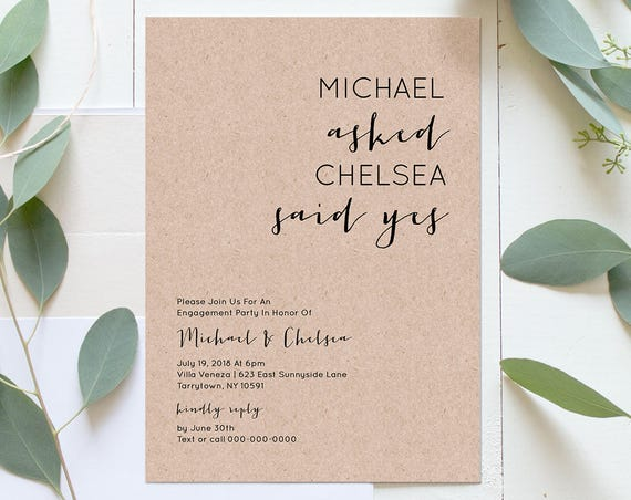 Engagement Party Invitation Template, Engaged Announcement Printable, Wedding Engagement Invite, Fully Editable, Instant Download #NC-105EP