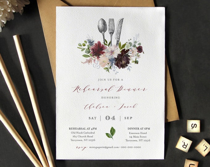 Rehearsal Dinner Invitation Template, Printable Wedding Rehearsal Invite INSTANT DOWNLOAD, 100% Editable Text, Burgundy Floral #040-134RD