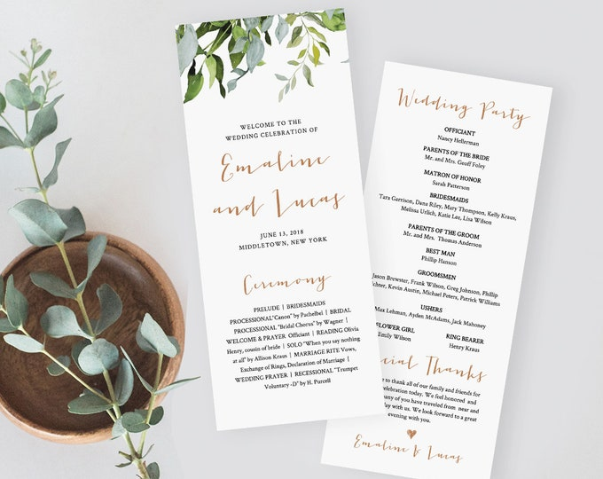 Printable Wedding Program Template, Order of Service, Instant Download, 100% Editable Text, Watercolor Greenery, DIY, Templett #016-210WP