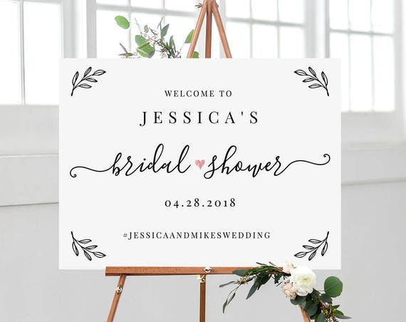 Bridal Shower Welcome Sign Template, Editable Wedding Shower Poster & 8x10 Sign, Custom Sign, Instant Download, Templett, DIY #030-108LS