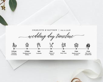 Wedding Day Timeline Card Itinerary Agenda Schedule Order Of Events Infographic 100 Editable Template Instant Download 034 101WDT