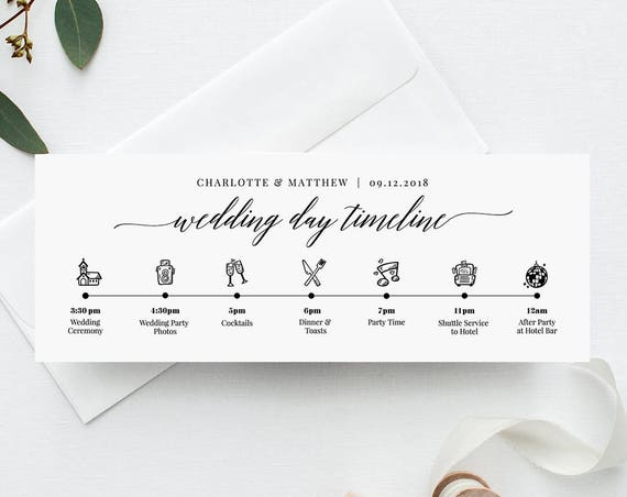 Wedding Day Timeline Card, Itinerary, Agenda, Schedule, Order of Events Infographic, 100% Editable Template, Instant Download #034-101WDT