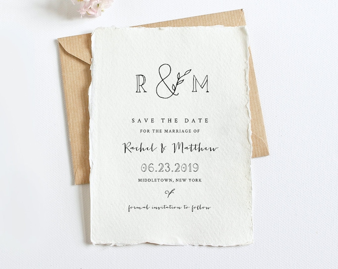 Rustic Save the Date Template, Printable Self-Editing Wedding Date Card, Instant Download, 100% Editable, Templett, Simple, DIY #042-120SD
