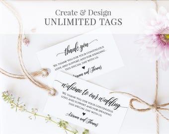 Wedding Favor Tag Template, Welcome Bag Tag, Thank You Tag, Printable, 100% Editable, Instant Download, DIY 3.5x2 #023-102TG 020 022 014