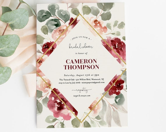 Boho Bridal Shower Invitation Template, Watercolor Burgundy Rose Florals & Greenery, INSTANT DOWNLOAD, 100% Editable Text, DIY #065-175BS