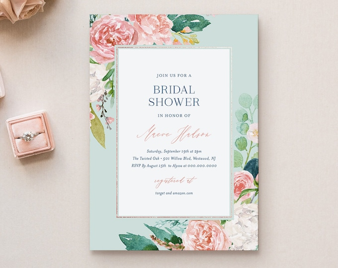 Mint Bridal Shower Invitation Template, Printable Vintage Boho Floral Wedding Shower Invite, Editable Text, INSTANT DOWNLOAD #069-190BS