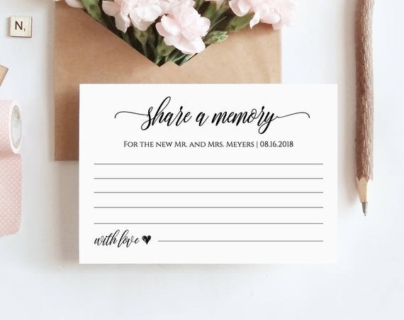 Share a Memory Printable Card, Wedding Advice Template for Newlyweds, Bridal Shower, Instant Download, 100% Editable #023-107EL 022 020 014