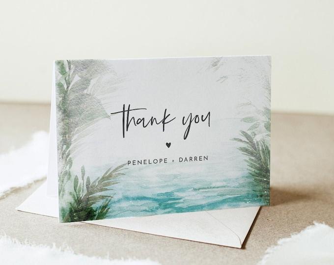 Beach Thank You Card, Destination Wedding, Tropical Bridal Shower, Editable Template, Instant Download, Flat & Tent, Templett #099-179TYC