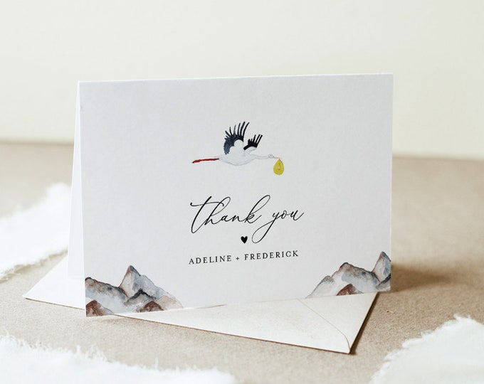 Stork Thank You Card Template, Baby Shower Thank You, Editable, Flat & Folded Note Card, Printable, Instant Download, Templett 3.5x5 #164TYC