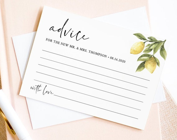 Lemon Advice Card Template, Editable Citrus Bridal Shower Advice, Wedding Advice For Newlyweds, Instant Download, Templett #089-147EC
