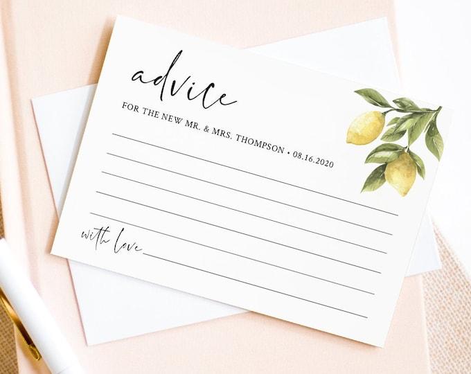 Lemon Advice Card Template, Editable Citrus Bridal Shower Advice, Wedding Advice For Newlyweds, Instant Download, Templett #089-147EC