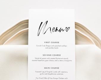 Modern Wedding Menu Printable, INSTANT DOWNLOAD, Minimalist Dinner Menu Card Template, 100% Editable, DIY, Templett #090-161WM