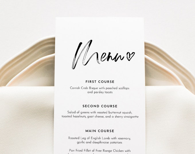 Modern Wedding Menu Printable, INSTANT DOWNLOAD, Minimalist Dinner Menu Card Template, 100% Editable, DIY, Templett #090-161WM
