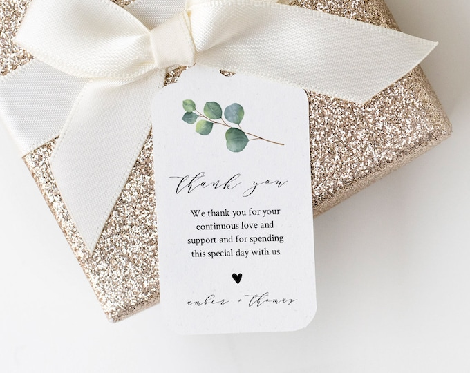 Eucalyptus Wedding Favor Tag Template, Thank You Tag, Bridal Shower Tag, Welcome Bag, INSTANT DOWNLOAD, Editable Text, Templett #036-144FT
