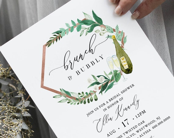 Brunch and Bubbly Bridal Shower Invitation, Champagne Bridal Shower Invite Template, Editable Text, Instant Download, Templett #080-245BS