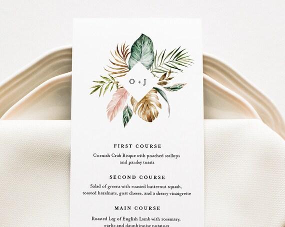 Tropical Wedding Menu Template, INSTANT DOWNLOAD, Printable Dinner Menu Card, 100% Editable Text, Monogram Wedding, Templett #087-156WM