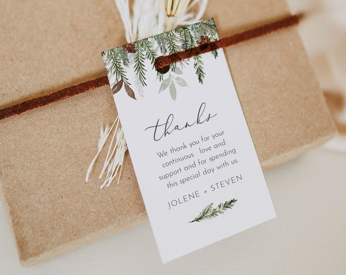 Pine Favor Tag Template, Rustic Winter Bridal Shower, Wedding, Baby Shower, Editable Holiday Gift Tag, Instant Download Templett #0017-181FT