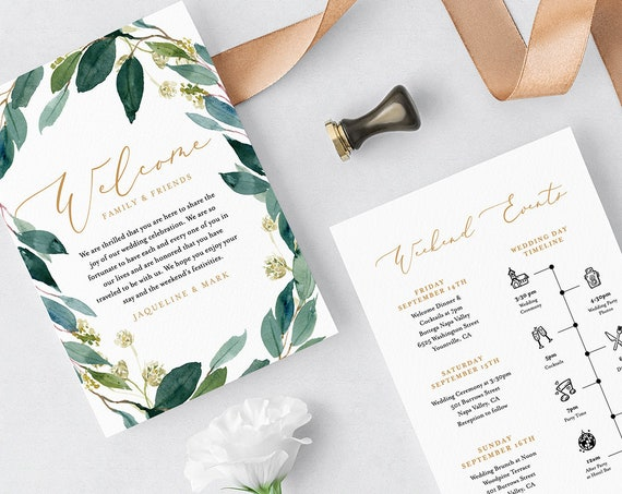 Wedding Itinerary Template, Welcome Bag Note & Agenda, Wedding Timeline, INSTANT DOWNLOAD, 100% Editable, Boho Greenery Wreath #044-113WB