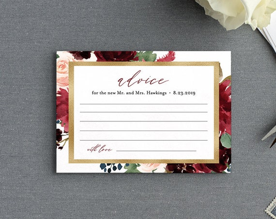 Advice Card Template, Wedding or Bridal Shower Well Wishes for Bride and Groom, Instant Download, 100% Editable Text, DIY #062-120EC