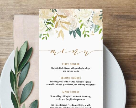 Wedding Menu Template, INSTANT DOWNLOAD, Printable Floral Watercolor Dinner Menu Card, Gold, Greenery, 100% Editable, Templett #021-113WM