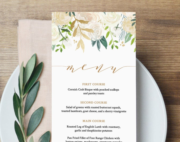 Wedding Menu Template, INSTANT DOWNLOAD, Printable Floral Watercolor Dinner Menu Card, Gold, Greenery, 100% Editable, Templett #021-113WM