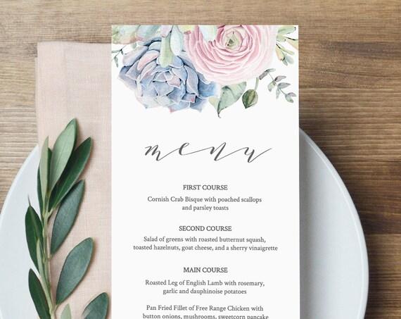 Wedding Menu Template, Succulent Dinner Menu Printable, INSTANT DOWNLOAD, 100% Editable, Boho, Watercolor, Templett #041-121WM
