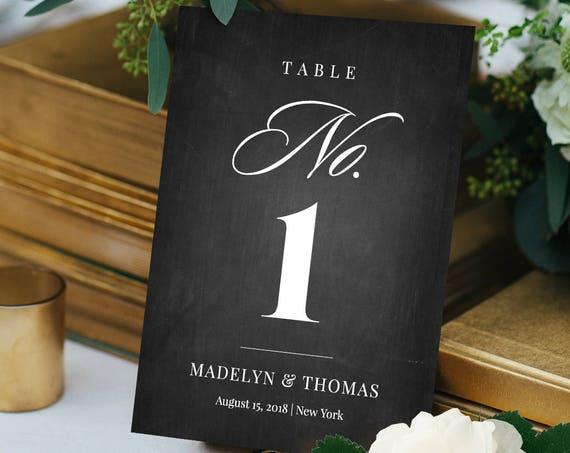 Chalkboard Wedding Table Number Card, Printable Seating Card, DIY Table Card Template, 100% Editable, Digital, 3 Sizes, Templett #NC-104TC