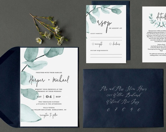 Wedding Invitation Template, Eucalyptus Greenery, INSTANT DOWNLOAD, 100% Editable Text, Printable Invite, RSVP & Details, Modern, Boho #049A