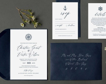 Nautical Wedding Invitation Template, Printable Destination Beach Wedding Invite Set, Compass, Anchor, 100% Editable, INSTANT DOWNLOAD #053B