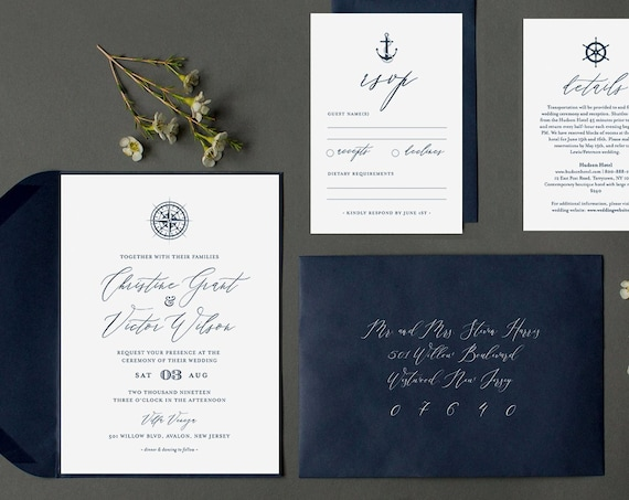 Nautical Wedding Invitation Template, Printable Destination Beach Wedding Invite Set, Compass, Anchor, 100% Editable, INSTANT DOWNLOAD #053B
