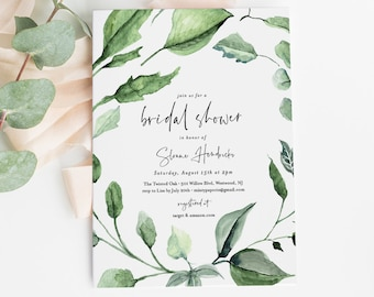 Bridal Shower Invitation Template, Boho Greenery Wedding Shower, Printable Couples Shower, Editable Text, INSTANT DOWNLOAD, DiY #059-179BS