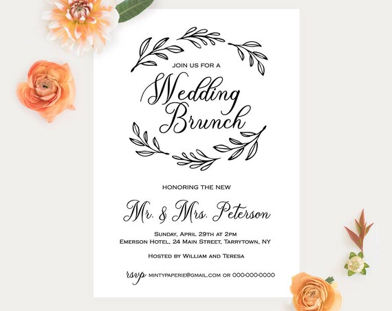 Wedding Brunch Template, Post Wedding Brunch Invitation, Fully Editable Template, Printable Brunch Invite, Rustic Wedding, DIY #027-106BR