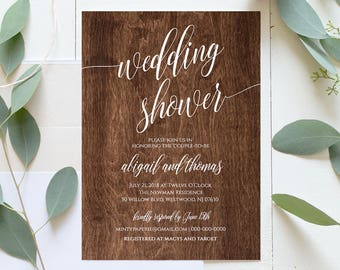 Wedding Shower Template, Couples Shower Invitation, Instant Download, Printable Rusic Chalkboard Shower Invite, Editable Template #020-113BS