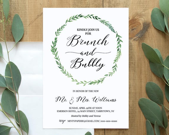 Brunch & Bubbly Invitation Template, Printable Post Wedding Brunch Invite, Instant Download, 100% Editable Template, Digital, DIY #026-105WB