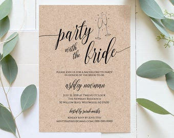 Bachelorette Party Invitation & Itinerary, Printable Invitation, Rustic Bachelorette Invite, Instant Download, Editable Template #020-101BP
