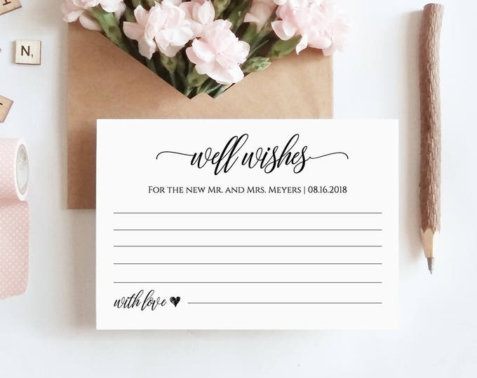 Well Wishes Printable, Wedding Advice Card Template for Newlyweds, Bridal Shower, Instant Download, 100% Editable, Digital #023-104EC