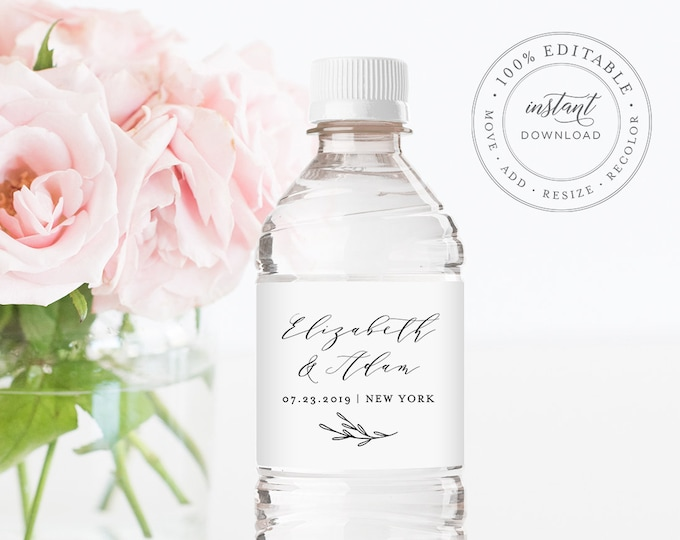 Wedding Water Bottle Label Printable, Custom Label Template, 100% Editable INSTANT DOWNLOAD, Welcome Bag, Wedding Favor, Templett #037-106BL
